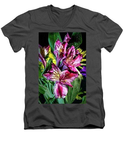 Purple Lily Men's V-Neck T-Shirt by Mark Dunton