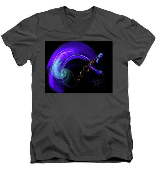 Men's V-Neck T-Shirt featuring the painting Purple Moon by DC Langer
