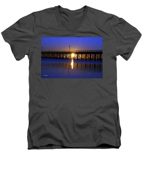 Purple Ocean Sunrise Men's V-Neck T-Shirt by Gary Crockett