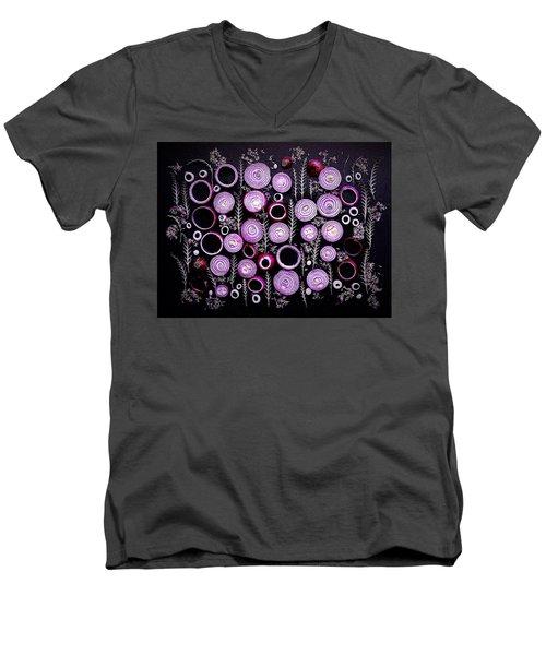 Purple Onion Patterns Men's V-Neck T-Shirt