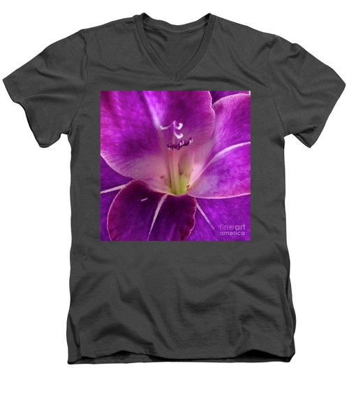 Men's V-Neck T-Shirt featuring the photograph Purple Orchid Close Up by Kim Nelson