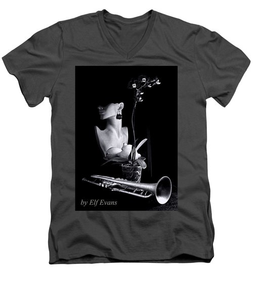 Men's V-Neck T-Shirt featuring the photograph Purple Orchid by Elf Evans