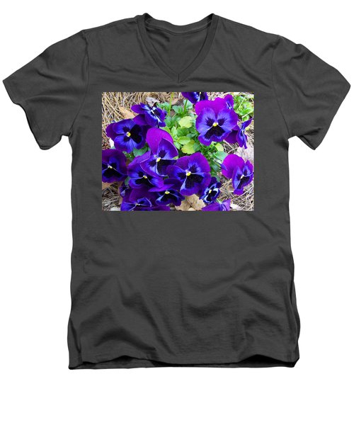 Men's V-Neck T-Shirt featuring the photograph Purple Pansies by Sandi OReilly