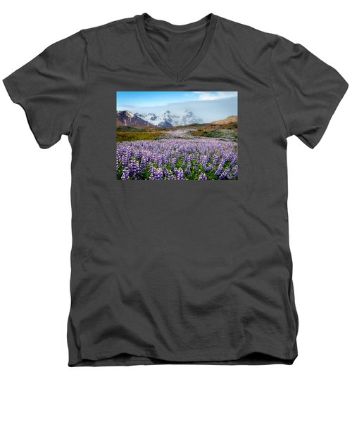 Purple Pathway Men's V-Neck T-Shirt by William Beuther