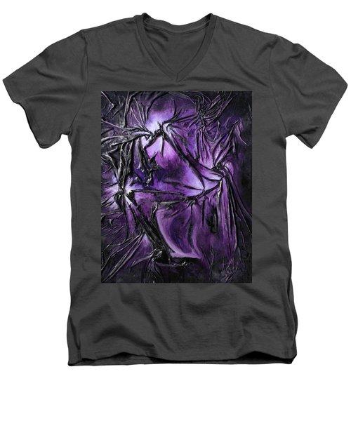 Purple Pedals Men's V-Neck T-Shirt by Angela Stout