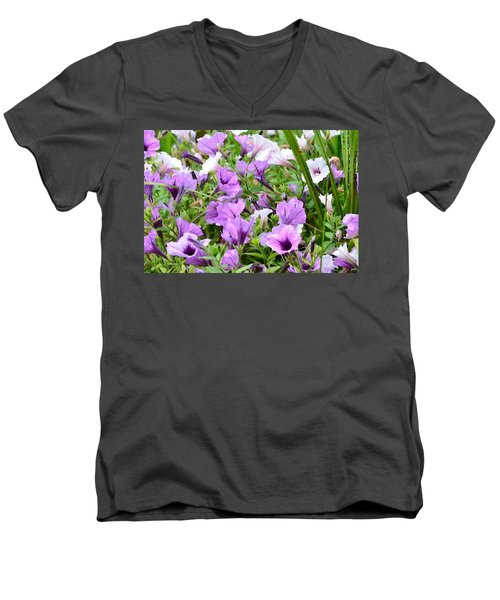Purple Petunias Men's V-Neck T-Shirt