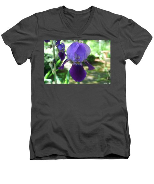 Men's V-Neck T-Shirt featuring the digital art Purple Pleaser by Barbara S Nickerson