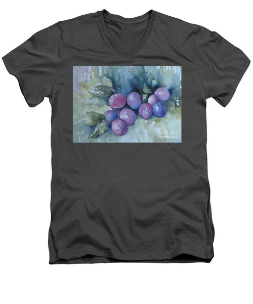 Men's V-Neck T-Shirt featuring the painting Purple Plums by Elena Oleniuc