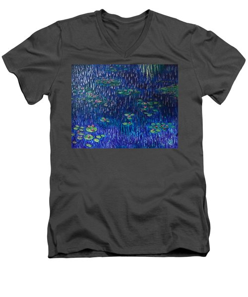 Purple Rain On Water Lilies Men's V-Neck T-Shirt