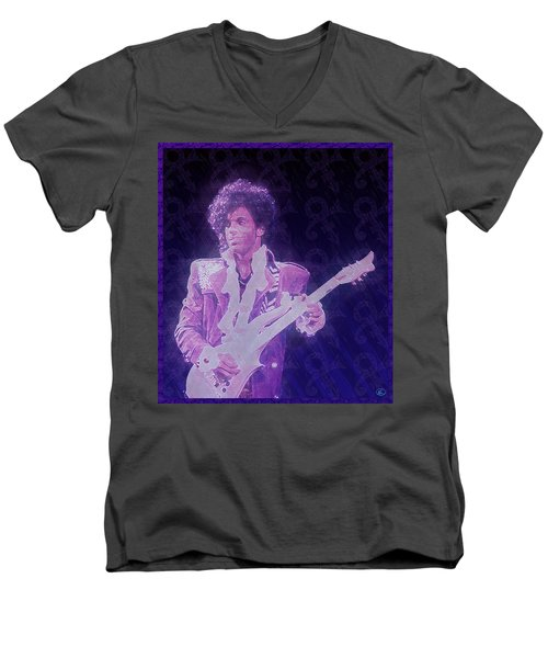 Purple Reign Men's V-Neck T-Shirt by Kenneth Armand Johnson