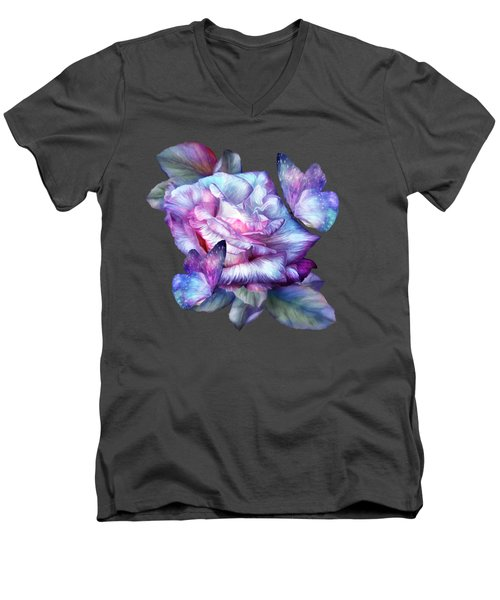 Men's V-Neck T-Shirt featuring the mixed media Purple Rose And Butterflies by Carol Cavalaris