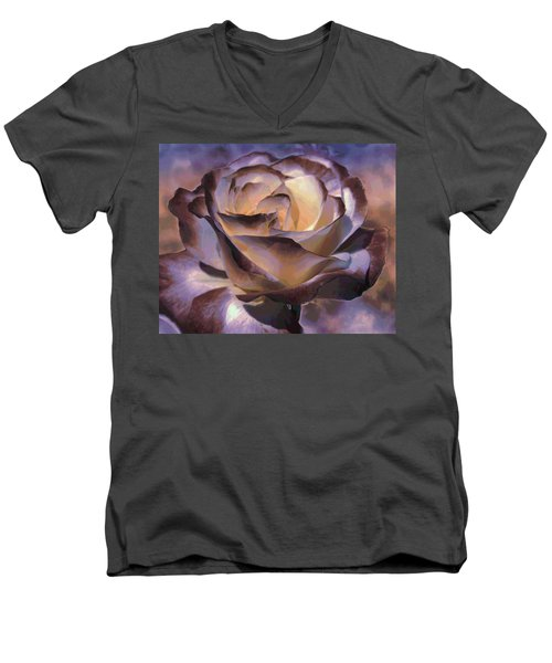 Men's V-Neck T-Shirt featuring the photograph Purple Rose by Athala Carole Bruckner