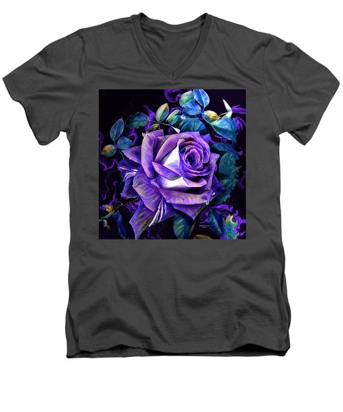 Purple Rose Bud Painting Men's V-Neck T-Shirt