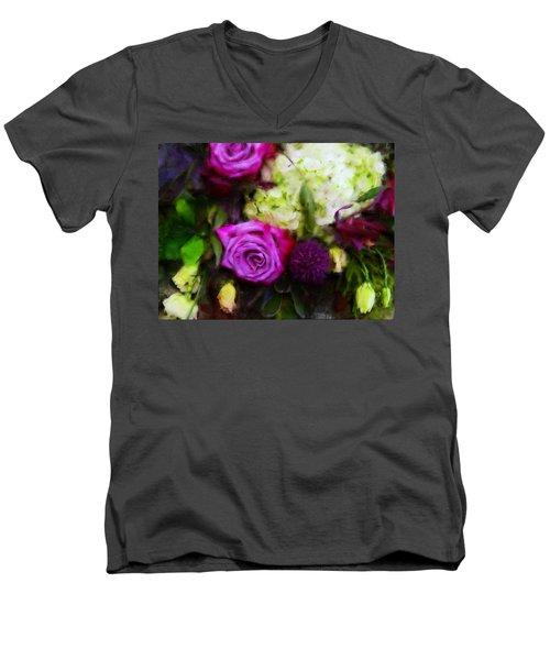 Purple Roses With Hydrangea Men's V-Neck T-Shirt