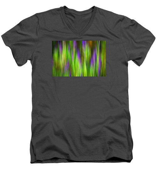 Purple Sage Digital Abstracts Motion Blur Men's V-Neck T-Shirt by Rich Franco