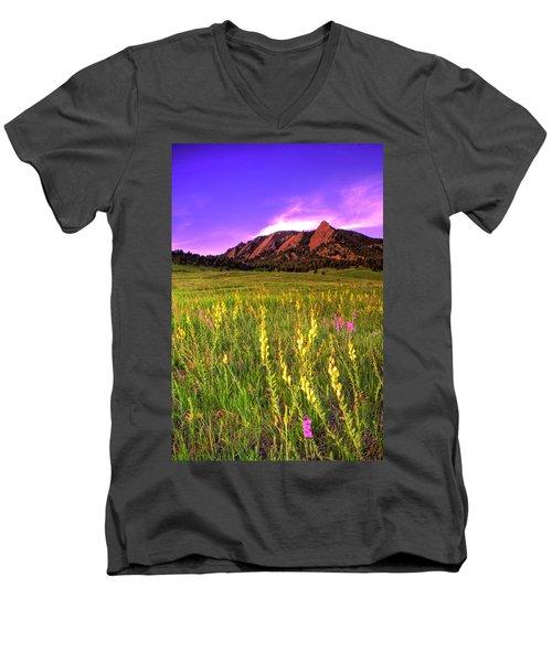 Purple Skies And Wildflowers Men's V-Neck T-Shirt by Scott Mahon