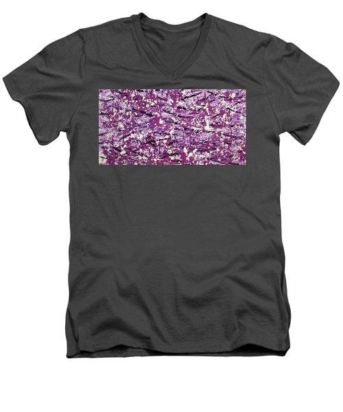 Purple Splatter Men's V-Neck T-Shirt