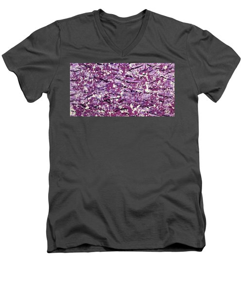 Purple Splatter Men's V-Neck T-Shirt