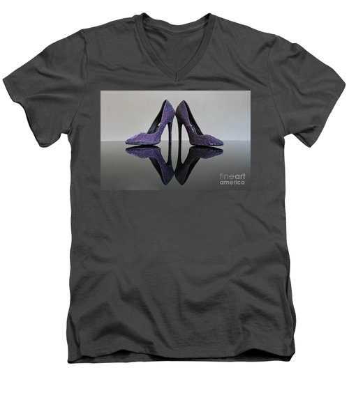 Men's V-Neck T-Shirt featuring the photograph Purple Stiletto Shoes by Terri Waters