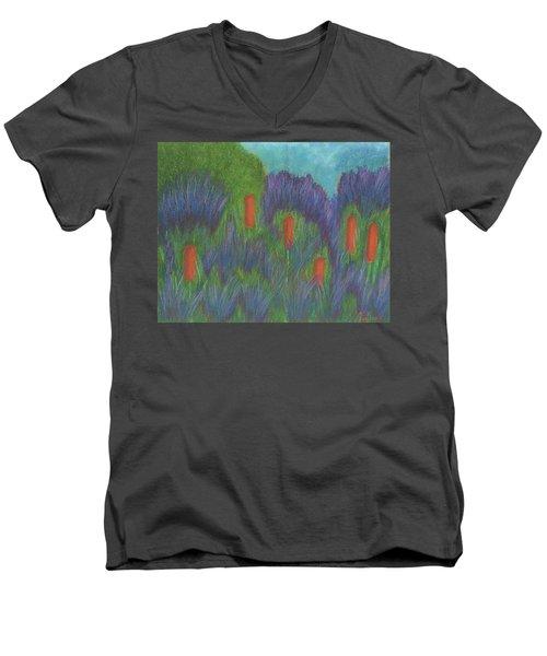Purple Strife And Cattails Men's V-Neck T-Shirt
