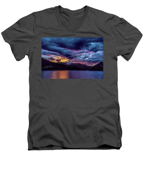 Purple Sunset At Summit Cove Men's V-Neck T-Shirt