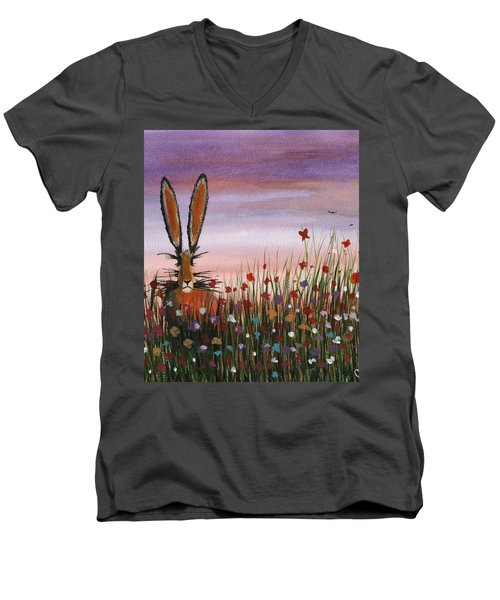 Purple Sunset Hare Men's V-Neck T-Shirt