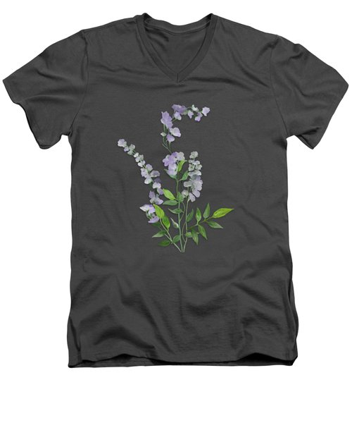 Men's V-Neck T-Shirt featuring the painting Purple Tiny Flowers by Ivana Westin