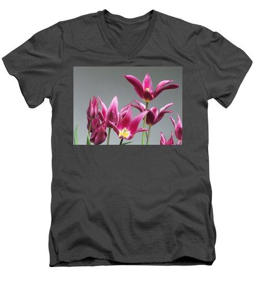 Purple Tulips Men's V-Neck T-Shirt by Helen Northcott