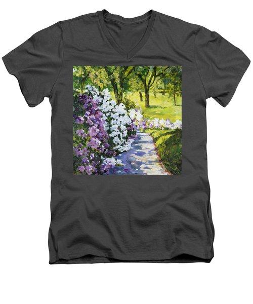 Purple White Men's V-Neck T-Shirt