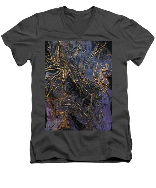Purple With Texture Men's V-Neck T-Shirt