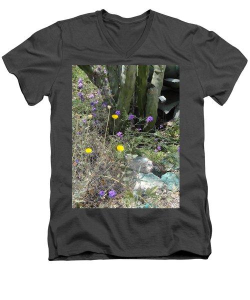 Purple Yellow Flowers Green Cactus Men's V-Neck T-Shirt