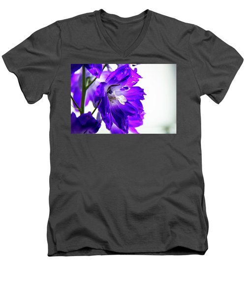 Men's V-Neck T-Shirt featuring the photograph Purpled by David Sutton