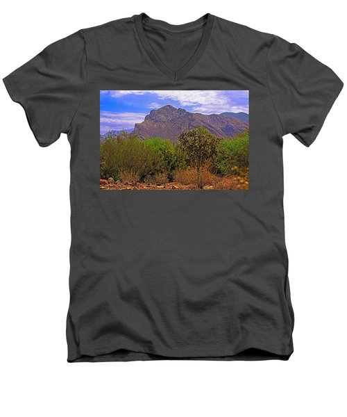 Men's V-Neck T-Shirt featuring the photograph Pusch Ridge Morning H10 by Mark Myhaver