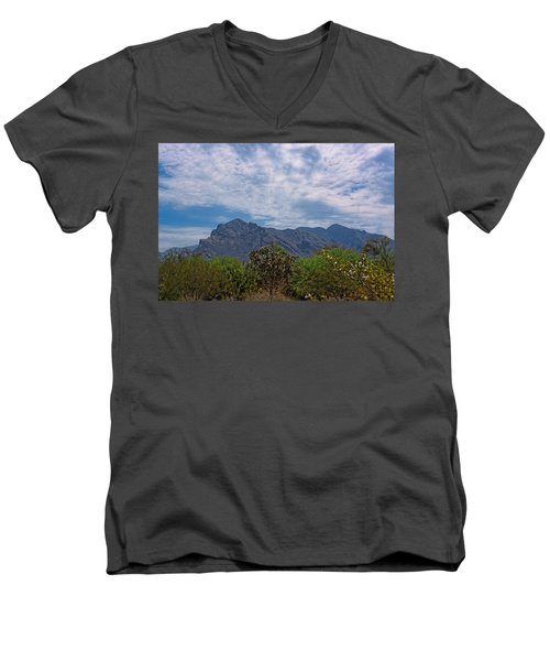 Men's V-Neck T-Shirt featuring the photograph Pusch Ridge Morning H26 by Mark Myhaver