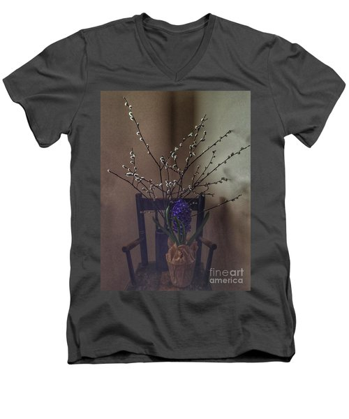 Pussy Willow And Hyacinth Still Life Men's V-Neck T-Shirt