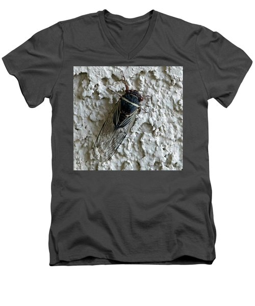 Men's V-Neck T-Shirt featuring the photograph Putnam's Cicada by Anne Rodkin