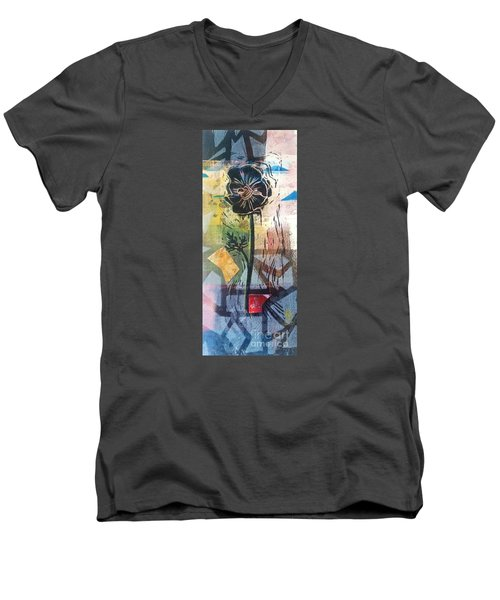 Men's V-Neck T-Shirt featuring the mixed media Puzzled Floral by Cynthia Lagoudakis