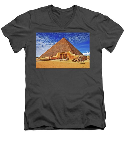 Men's V-Neck T-Shirt featuring the painting Pyramid by Harry Warrick