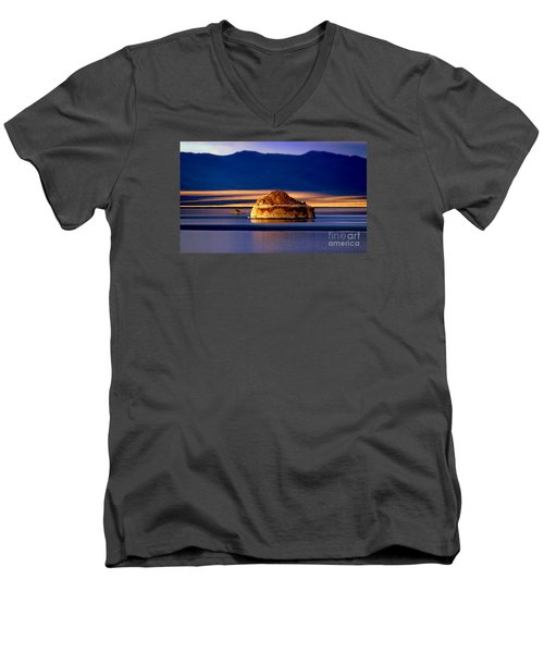 Men's V-Neck T-Shirt featuring the photograph Pyramid Lake Nevada by Irina Hays