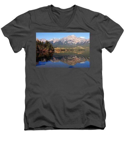 Pyramid Mountain And Pyramid Lake 2 Men's V-Neck T-Shirt