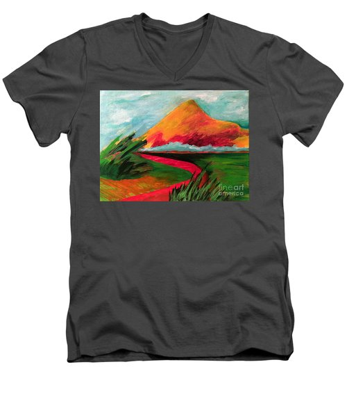 Pyramid Mountain Men's V-Neck T-Shirt by Elizabeth Fontaine-Barr