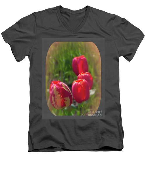 Quad Tulips Men's V-Neck T-Shirt by Ansel Price