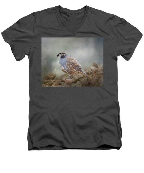 Quail On The Rocks Men's V-Neck T-Shirt