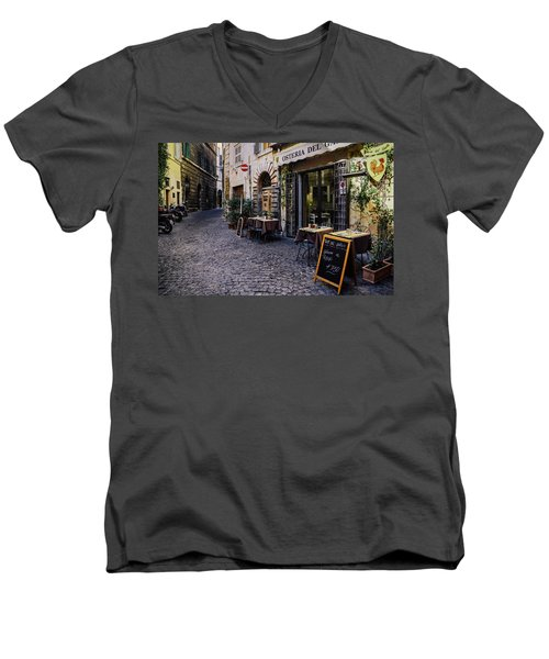 Quaint Cobblestones Streets In Rome, Italy Men's V-Neck T-Shirt