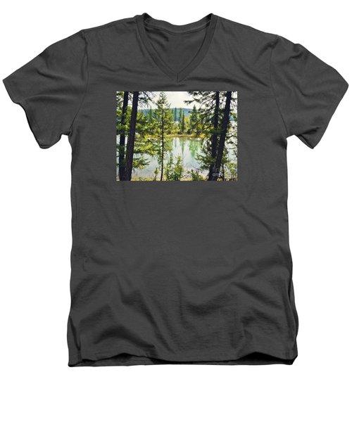 Quaint Men's V-Neck T-Shirt by Janie Johnson