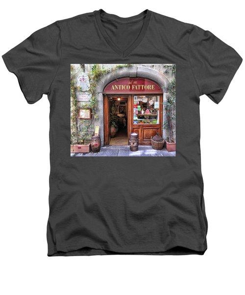 Quaint Restaurant In Florence Men's V-Neck T-Shirt by Dave Mills