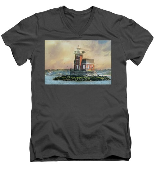 Quaint Stepping Stones Lighthouse Men's V-Neck T-Shirt