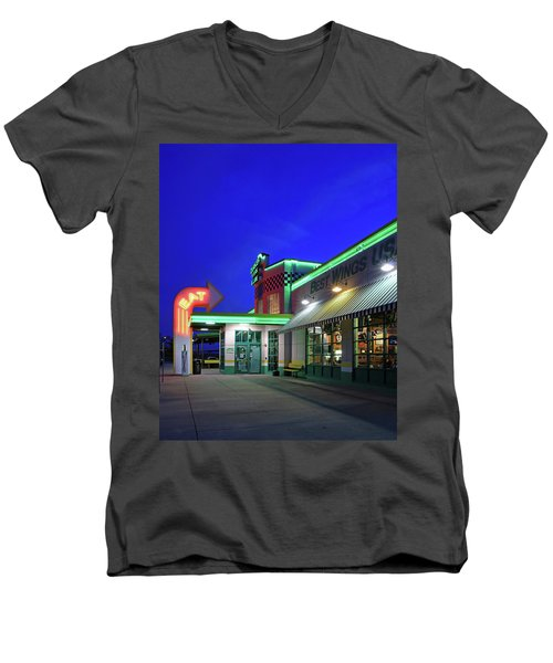 Men's V-Neck T-Shirt featuring the photograph Quaker Steak And Lube by Christopher McKenzie