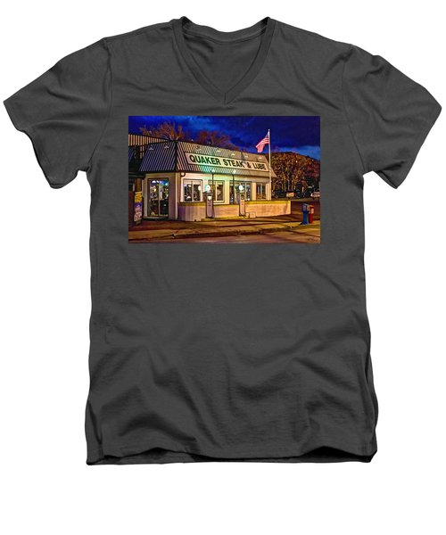 Quaker Steak And Lube Men's V-Neck T-Shirt by Skip Tribby