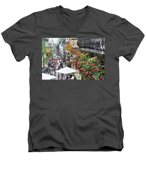 Men's V-Neck T-Shirt featuring the photograph Quartier Petit Champlain by John Schneider